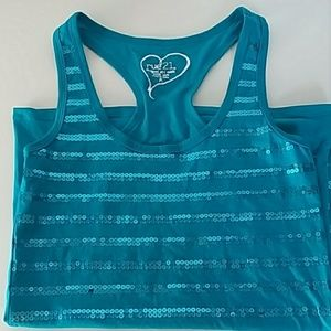 Rue21 Sparkly Blue Tank Top with Sequins